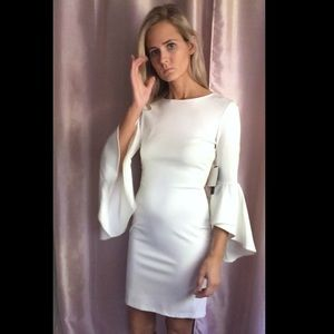 ba95d645cd Lulu s Dresses - Gimme Flair White Flounce Sleeve Bodycon Dress